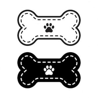 Illustrazione dell'orma della zampa dell'icona dell'osso di cane