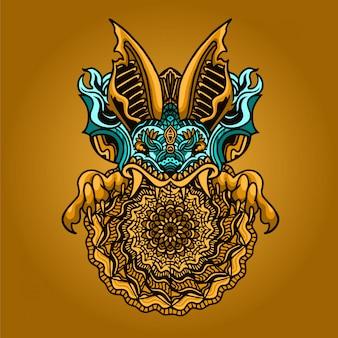 Illustrazione dell'ornamento della mandala della testa del pipistrello