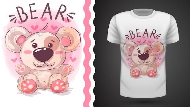 Illustrazione dell'orsacchiotto per il disegno della maglietta