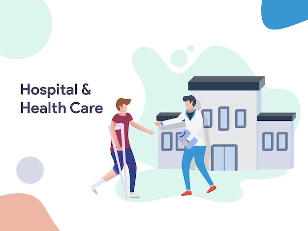 Illustrazione dell'ospedale e dell'assistenza sanitaria