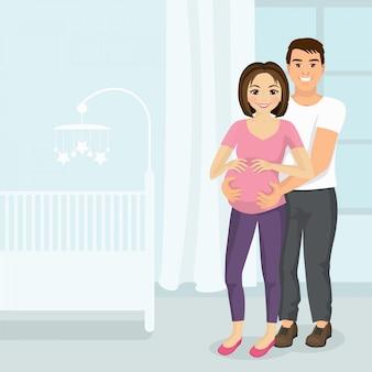 Illustrazione dell'uomo che abbraccia la donna incinta nella stanza dei bambini. concetto di coppia felice in uno stile piano.