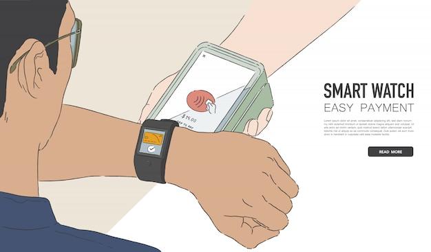 Illustrazione dell'uomo che effettua il pagamento wireless o senza contatto tramite smartwatch. cassiere che accetta pagamenti con tecnologia nfc. disegno della bandiera.