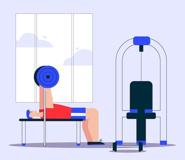 Illustrazione dell'uomo che fa esercizi con bilanciere su panca. apparecchi di allenamento per muscoli, attrezzature sportive in palestra. stile di vita sano, esercizi di forza, bodybuilding