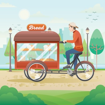 Illustrazione dell'uomo commerciante del pane con il carrello