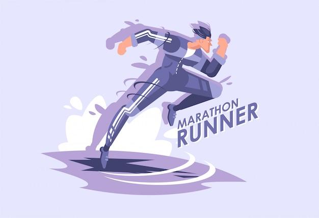 Illustrazione dell'uomo corrente, un corridore maratona in uniforme sportiva.