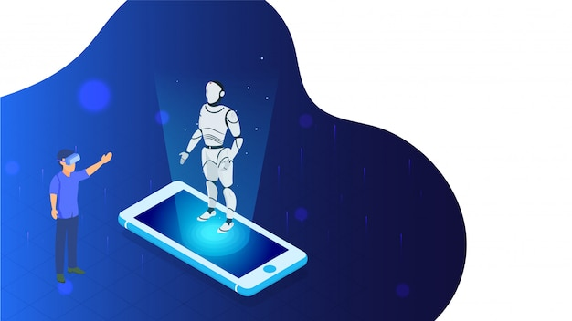 Illustrazione dell'uomo d'affari che mostra il robot umanoide di presentazione.