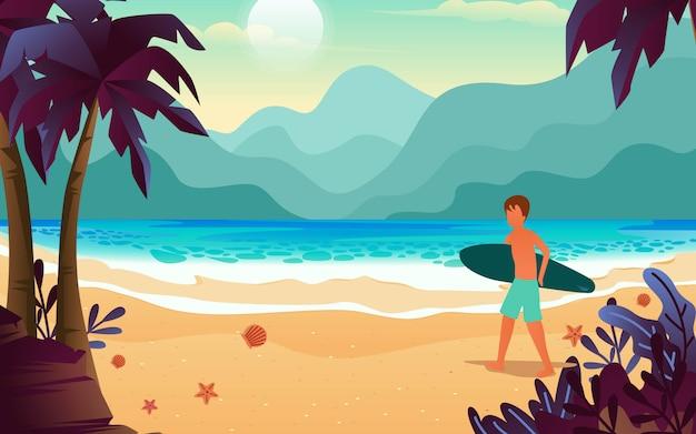 Illustrazione dell'uomo dalla pelle esotica che cammina sulla spiaggia mentre trasporta la sua tavola da surf sotto forma di un vettore di design piatto.