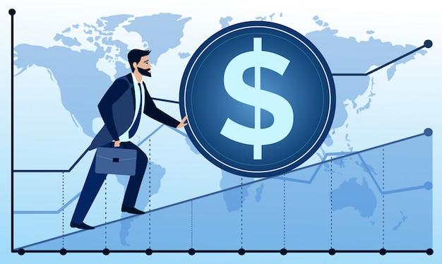 Illustrazione dell'uomo sta per avere successo sulla mappa del mondo e sullo sfondo del grafico. l'uomo d'affari sta provando a spingere verso l'alto una moneta. illustrazione di concetto di affari in stile cartone animato piatto.
