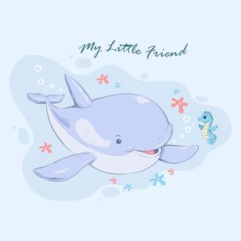 Illustrazione della balena che nuota con il piccolo amico del cavalluccio marino
