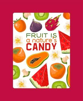 Illustrazione della bandiera di frutti tropicali. prodotti estivi esotici come mangostano, kiwi, dragonfruit, anguria. metà e frutti interi. la frutta è una caramella naturale.