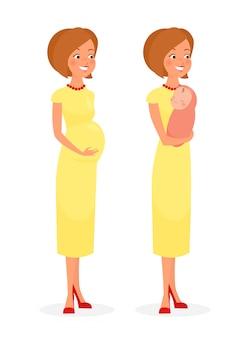 Illustrazione della bella donna incinta felice in abito e donna con bambino carino in stile cartone animato piatto isolato su sfondo bianco.