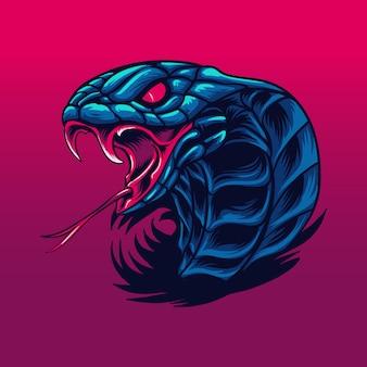 Illustrazione della bestia selvaggia del serpente cobra reale