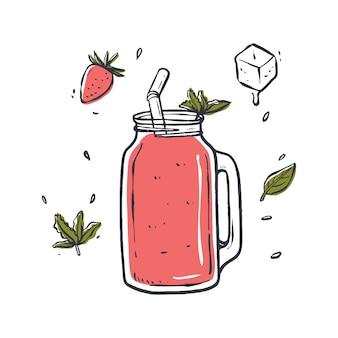 Illustrazione della bevanda del frullato, disegnata a mano