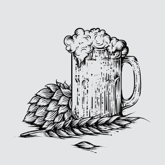 Illustrazione della birra artigianale in stile inciso