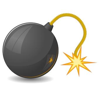 Illustrazione della bomba rotonda con una miccia