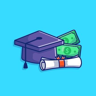 Illustrazione della borsa di studio. tappo di laurea, denaro, diploma.isolato
