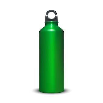 Illustrazione della bottiglia di alluminio del contenitore dell'acqua dell'alluminio di sport con il tappo di anello di plastica.
