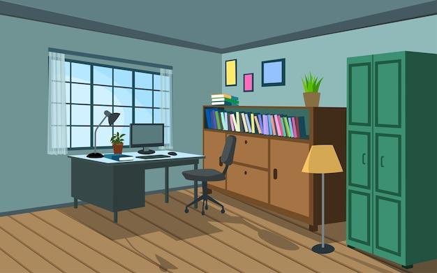 Illustrazione della camera con desktop e libreria