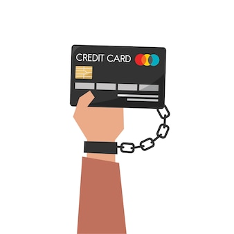 Illustrazione della carta di credito della holding della mano
