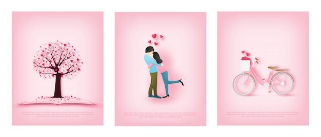 Illustrazione della cartolina d'auguri di amore con gli amanti si abbracciano e una bici e un albero di amore.