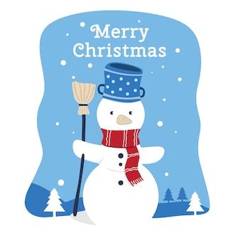 Illustrazione della cartolina d'auguri di buon natale del pupazzo di neve