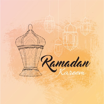 Illustrazione della cartolina d'auguri di ramadan kareem con lanterna