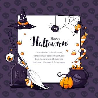Illustrazione della cartolina di halloween con il tema spaventoso e spazio per il testo