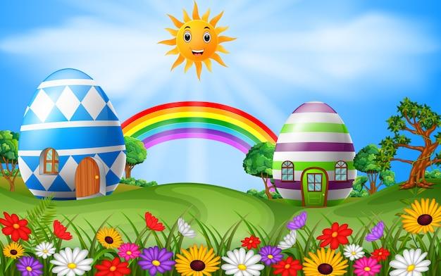 Illustrazione della casa delle uova di pasqua con la scena dell'arcobaleno