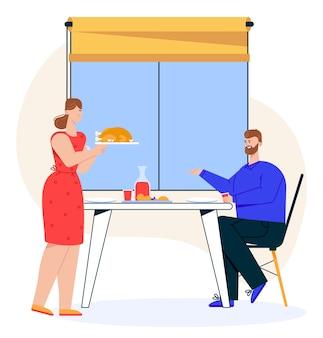 Illustrazione della cena in famiglia. la moglie serve tacchino o pollo. marito seduto al tavolo da pranzo. coppia che celebra anniversario, mangiare cibo insieme. vacanze e relazioni familiari