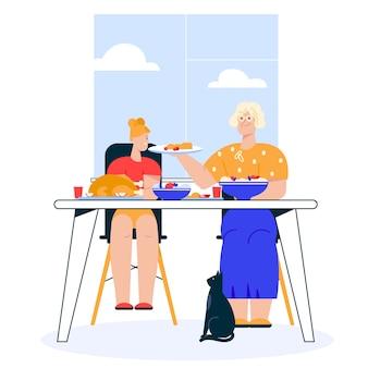 Illustrazione della cena in famiglia. nipote seduto al tavolo da pranzo festivo. la nonna serve il piatto. la famiglia celebra le vacanze, mangiando cibo insieme, concetto di tempo libero di relazione