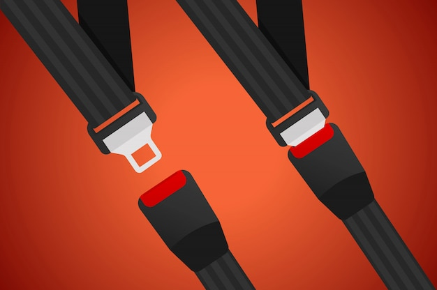 Illustrazione della cintura di sicurezza. cinture di sicurezza per auto.