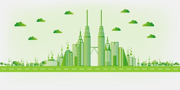 Illustrazione della città amichevole di eco