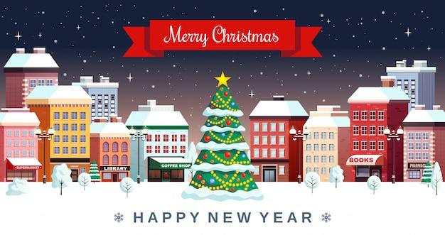 Illustrazione della città di feste di natale di inverno