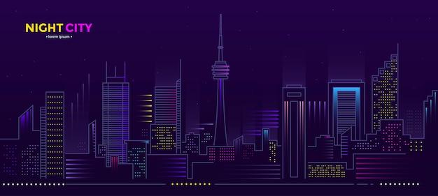 Illustrazione della città di notte con bagliore al neon e colori vivaci. s banner web e materiale stampato. illustrazione