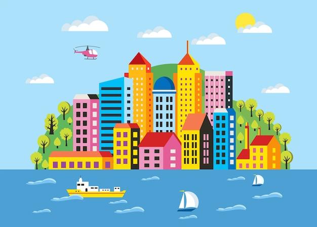 Illustrazione della città in uno stile piano degli edifici, case, grattacieli. per la decorazione