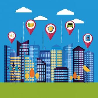 Illustrazione della città intelligente