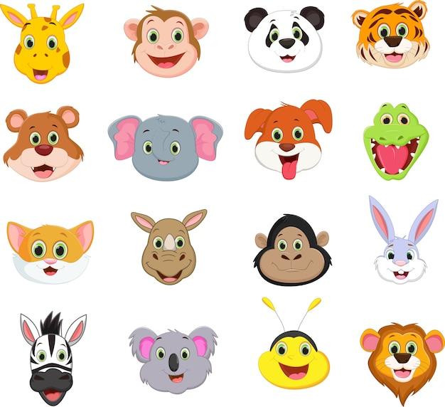 Illustrazione della collezione di simpatici animali faccia del fumetto