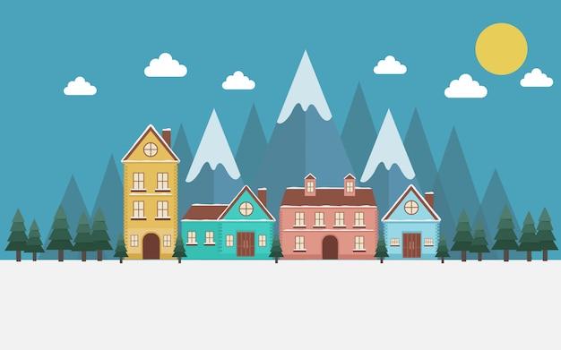Illustrazione della collina case paesaggio di notte