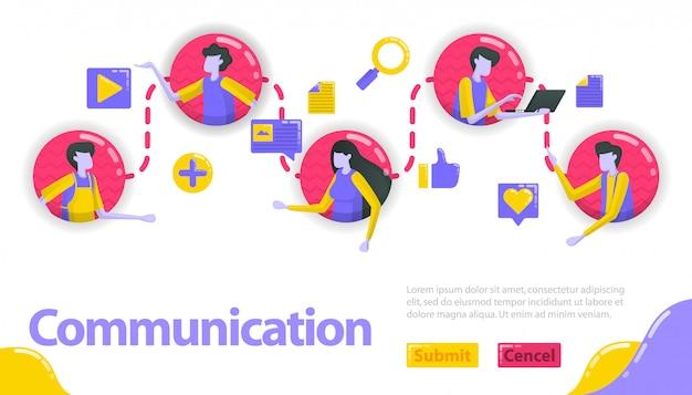 Illustrazione della comunicazione. le persone sono collegate tra loro nella linea di comunicazione e comunità.