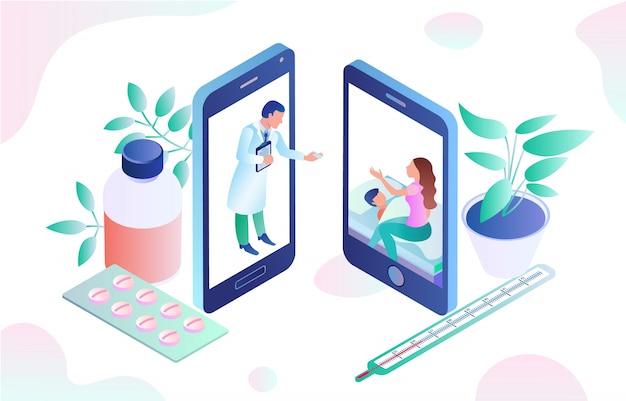 Illustrazione della consultazione del dottore dell'applicazione online.