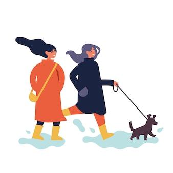 Illustrazione della coppia di donne felici in abiti di stagione autunnale. giovani ragazze che godono del loro tempo all'aperto nel parco a piedi con il cane.