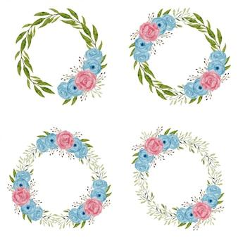 Illustrazione della corona del fiore della rosa dell'acquerello
