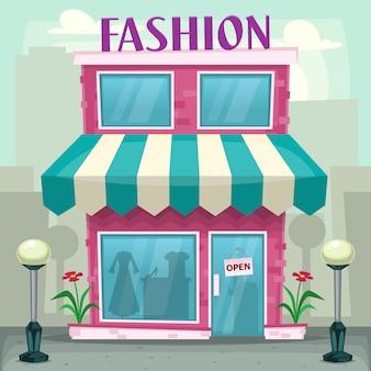 Illustrazione della costruzione del negozio di moda del fumetto