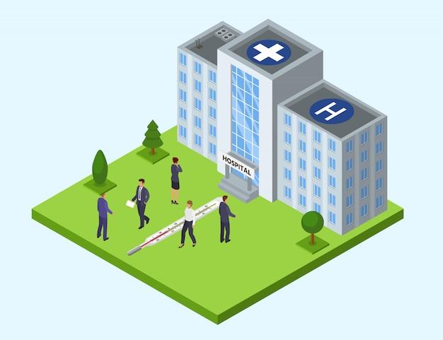 Illustrazione della costruzione dell'ospedale isometrica. interno anteriore della facciata di architettura moderna. persone pazienti o personale.