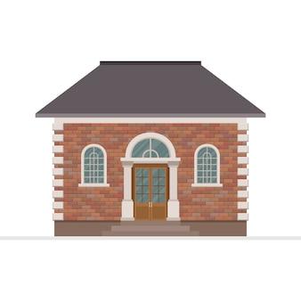 Illustrazione della costruzione di casa isolata su fondo bianco