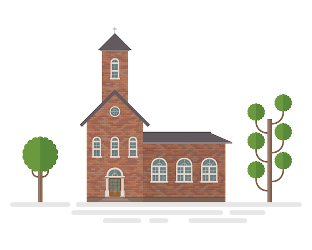 Illustrazione della costruzione di chiesa e degli alberi isolata su bianco