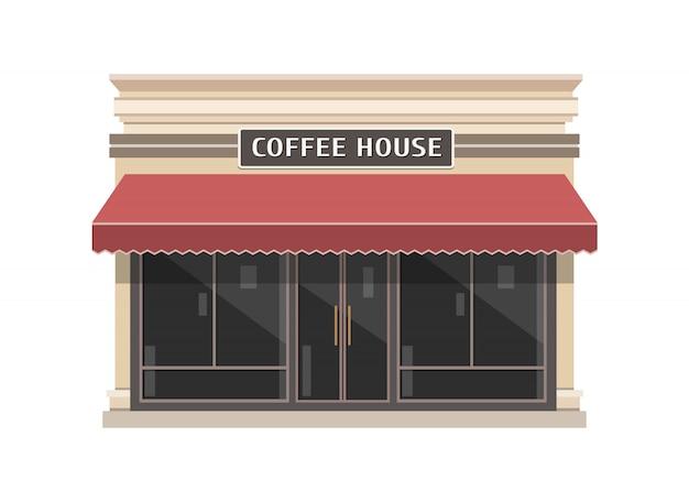 Illustrazione della costruzione di coffeeshop nello stile piano