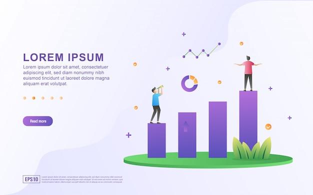 Illustrazione della crescita e del profitto di affari con l'icona del grafico e del grafico