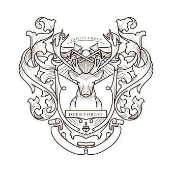 Illustrazione della cresta della famiglia della foresta dei cervi