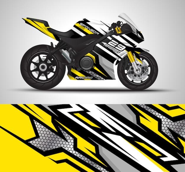 Illustrazione della decalcomania dell'involucro del motociclo di corsa